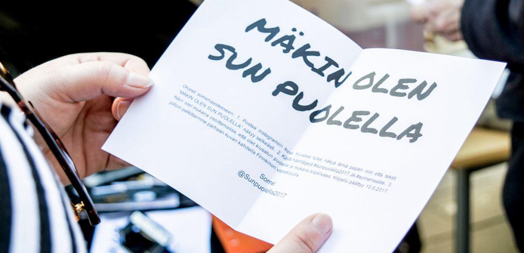 Nuorten yhteiskunnallisen markkinoinnin toteuttaman Sun puolella -kampanjan esite vuodelta 2017.