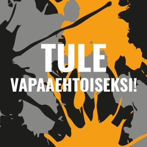 Kuvalinkki vapaaehtoisten ilmoittautumislomakkeelle, teksti: Tule vapaaehtoiseksi!