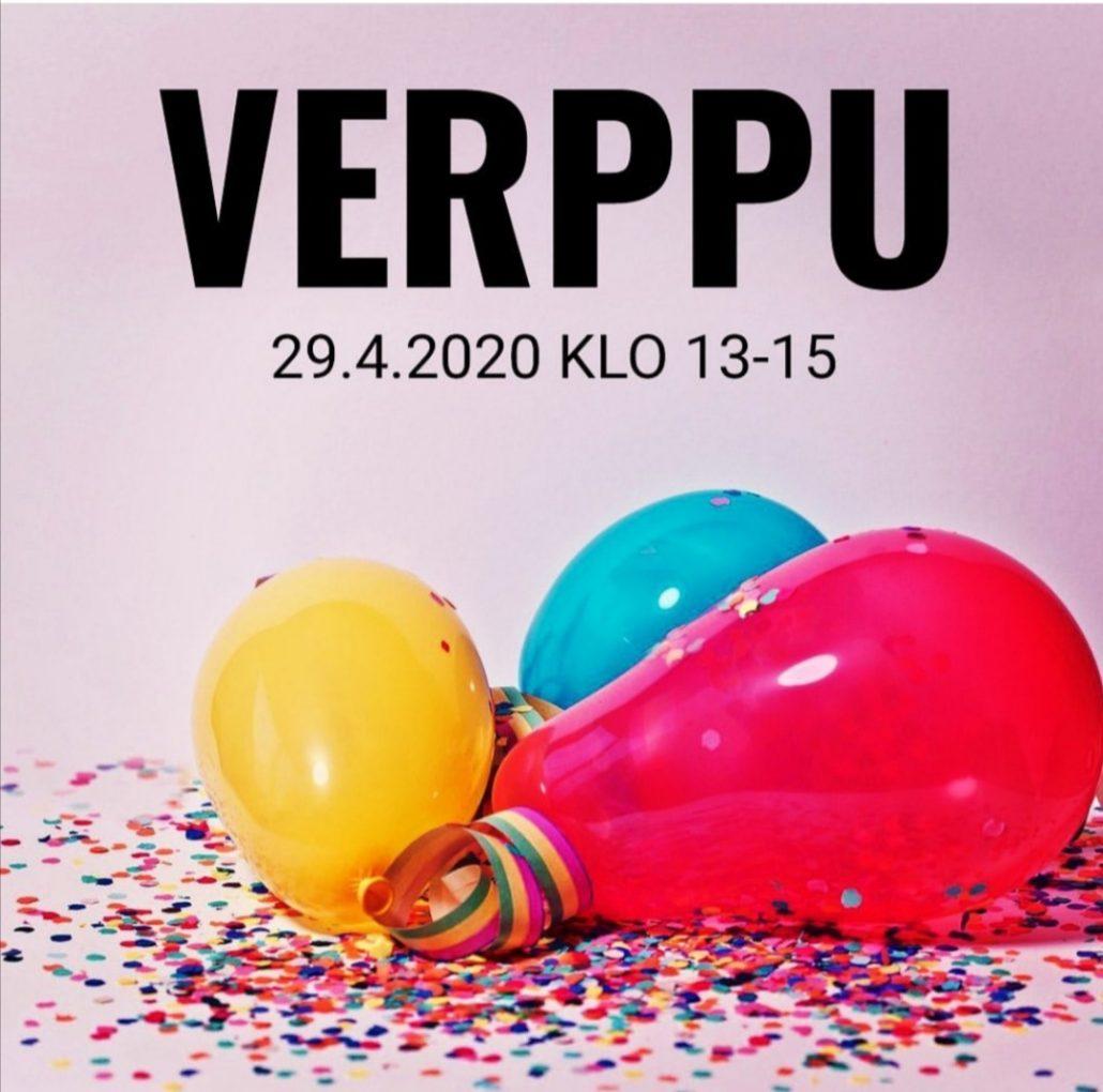Vappuun 2020 sijoittuvaa Verppu-tapahtumaa mainostava kuva, jossa ilmapalloja ja serpentiini.