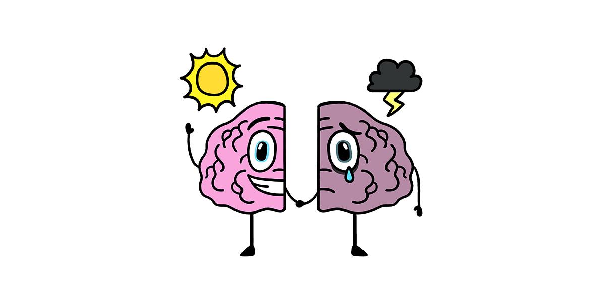 piirustus aivolohkoista, joista toinen hymyilee auringonpaisteessa toinen itkee ukkospilven alla.