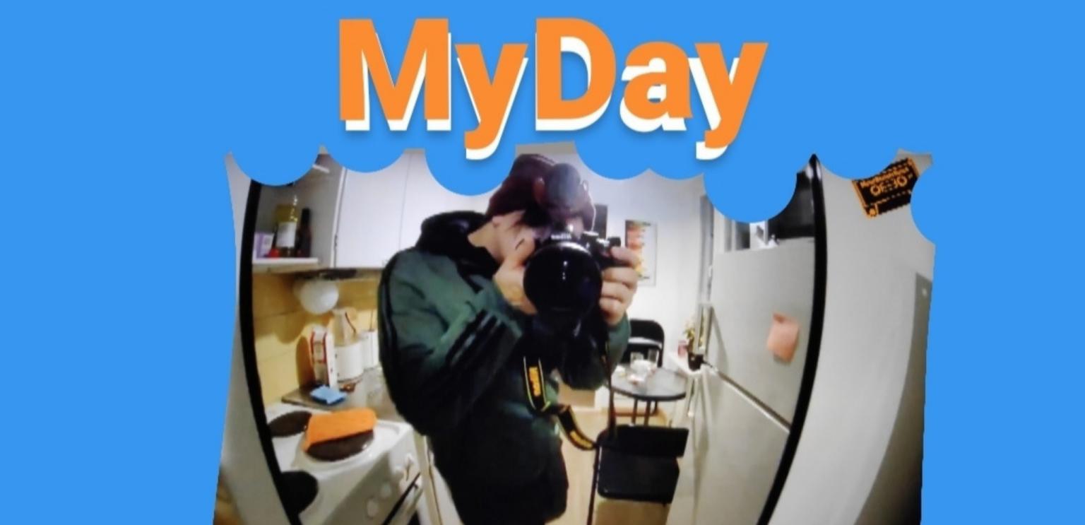 Ink-tiimiin osallistunut Iiro zuumaa kameralla kuvaajaan. Päällä lukee My Day.
