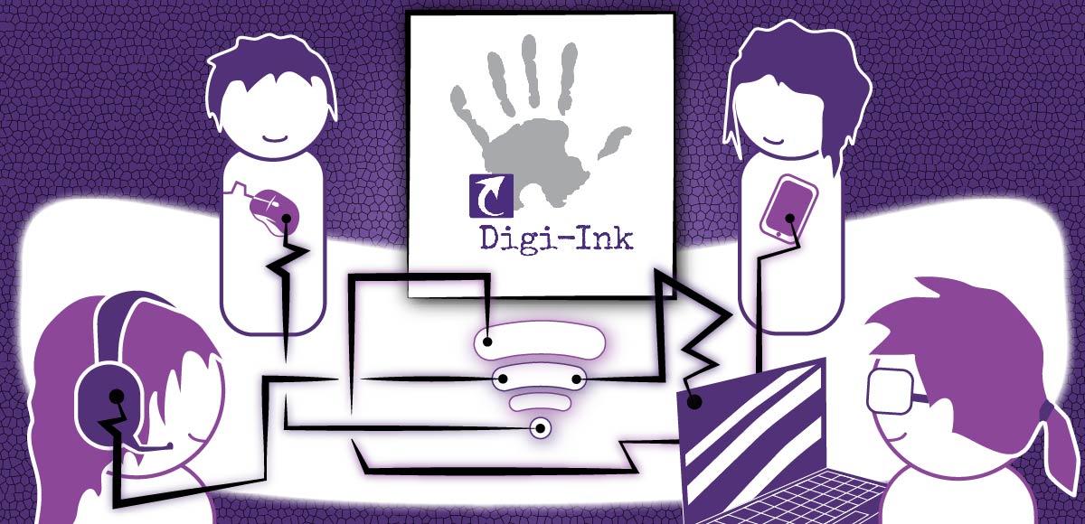 Karrikoidussa piirustuksessa neljä hahmoa on yhteydessä johtojen kautta nettiin jha sitä kautta toisiinsa. Hahmoilla käytössä erilaisia välineitä kuten kuulokkeita ja puhelimia. Kuvan keskellä Digi-Inkin logo, jossa käden kuva.