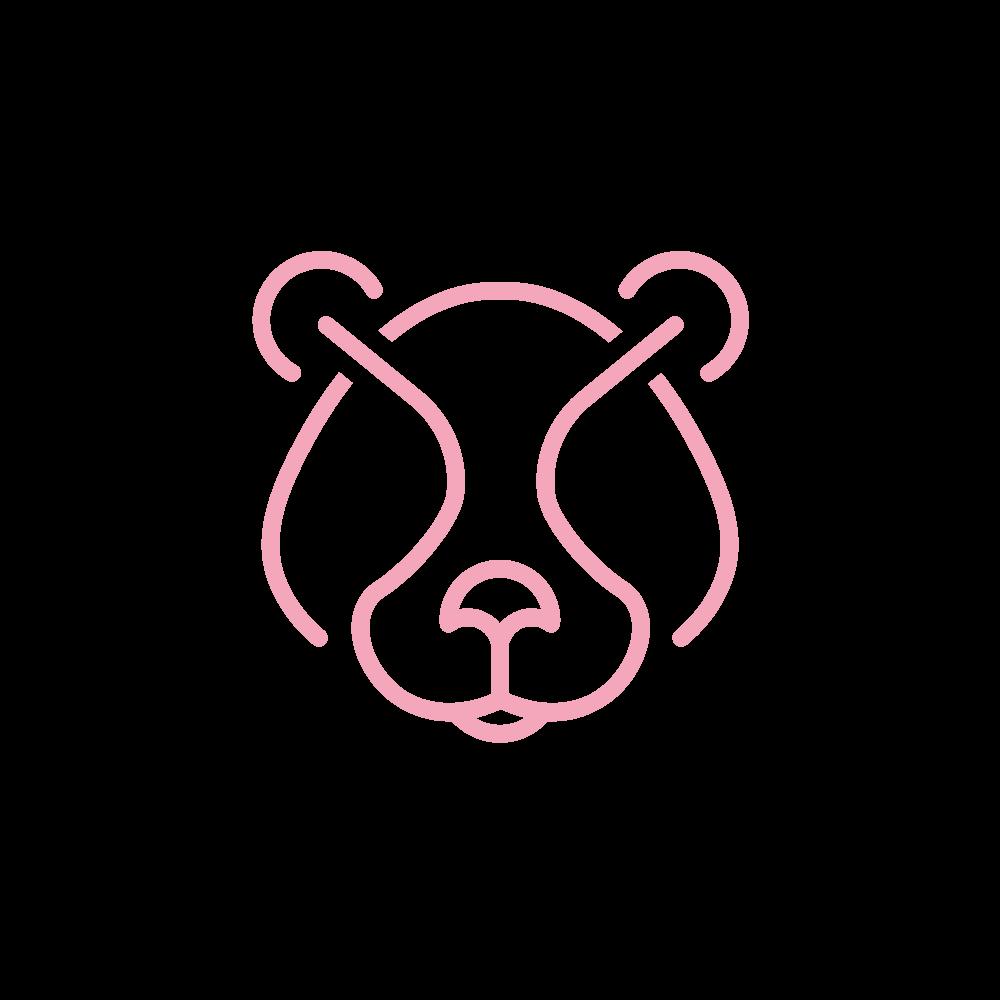 vaaleanpunaisella piirretty karhun kuva.