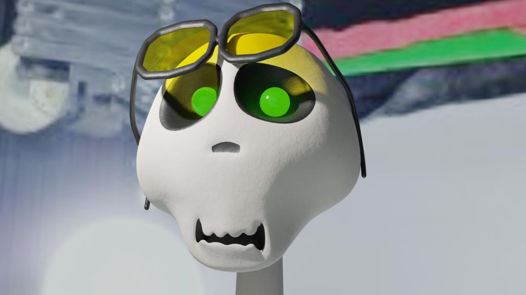 Digitaalinen kuva pääkallosta, jolla vihreäat silmät ja aurinkolasit otsalla.