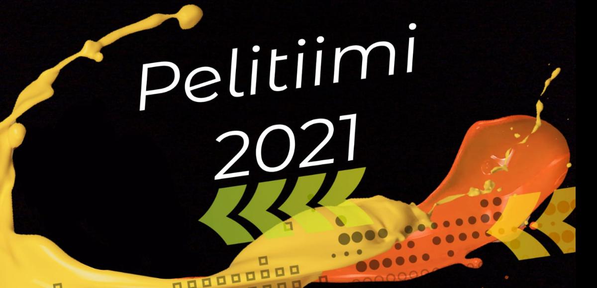 Mustalla pohjalla teksti Pelitiimi 2021, ja oransseja ja keltaisia nuolia. Graafinen toteutus.