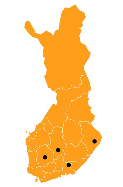 Suomen kartta johon on merkitty neljä pistettä ilmaisemaan sitä, kuinka osallistujat ovat eri puolelta maata. Pisteet sijaitsevat Keski-Suomessa, Etelä-Suomessa ja Itä-Suomessa.