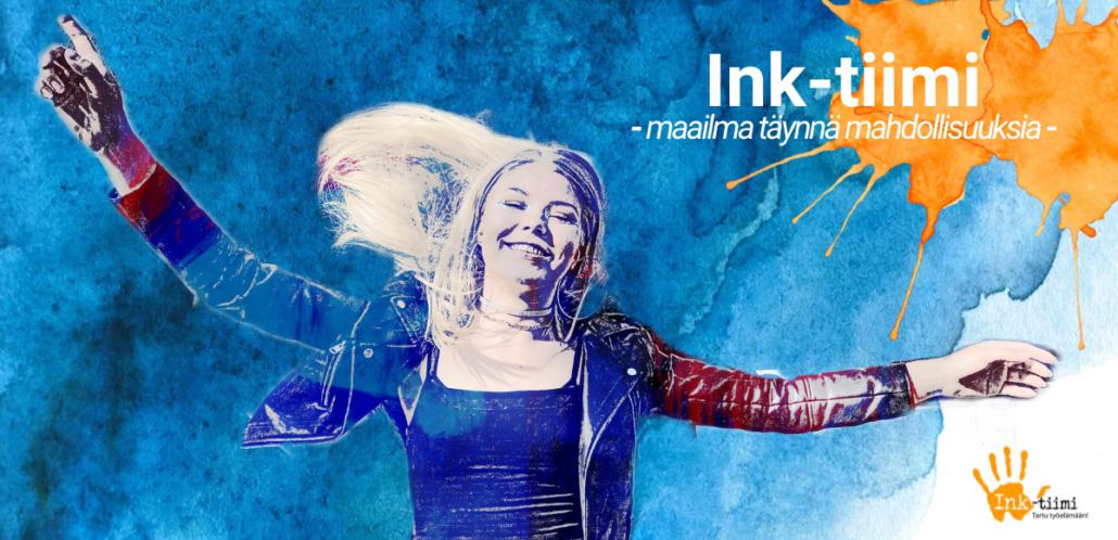 Vesivärimäinen kuva kädet auki seisovasta ihmisestä ja teksti Ink-tiimi maailma täynnä mahdollisuuksia.