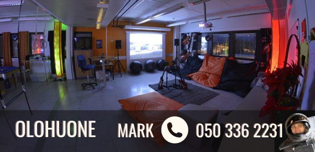 Kuva olohuoneesta ja teksti Olohuone marki p. 050 336 2231. Myös pieni kuva Markista sivun reunassa.